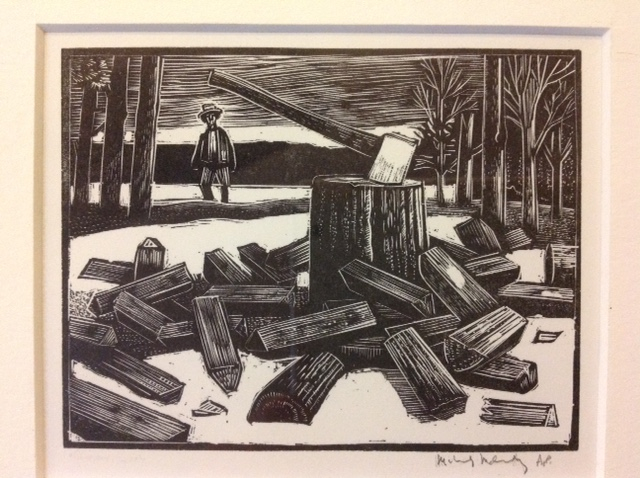 Artist: Michael McCurdy, Thoreau and the Woodpile