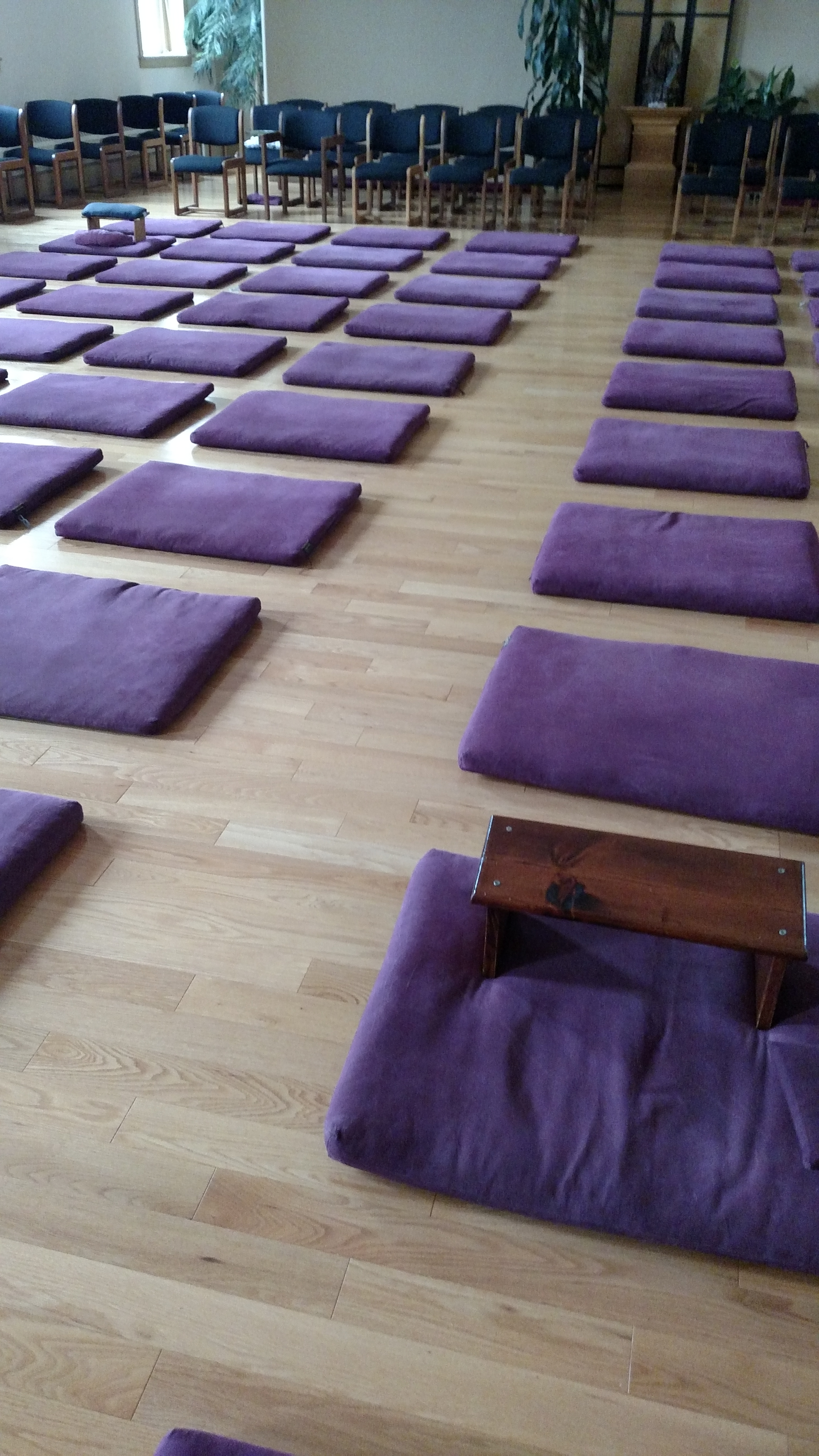 meditation hall at IMS with my little meditation bench and many, many unused cushions during a lull time in the center's schedule