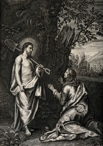 V0034821 The risen Christ appears as gardener to Mary Magdalene. Engr Credit: Wellcome Library, London. Wellcome Images images@wellcome.ac.uk http://wellcomeimages.org The risen Christ appears as gardener to Mary Magdalene. Engraving. Published: - Copyrighted work available under Creative Commons Attribution only licence CC BY 4.0 http://creativecommons.org/licenses/by/4.0/