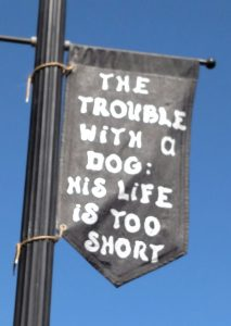 a banner hanging in the town my mom used to live in